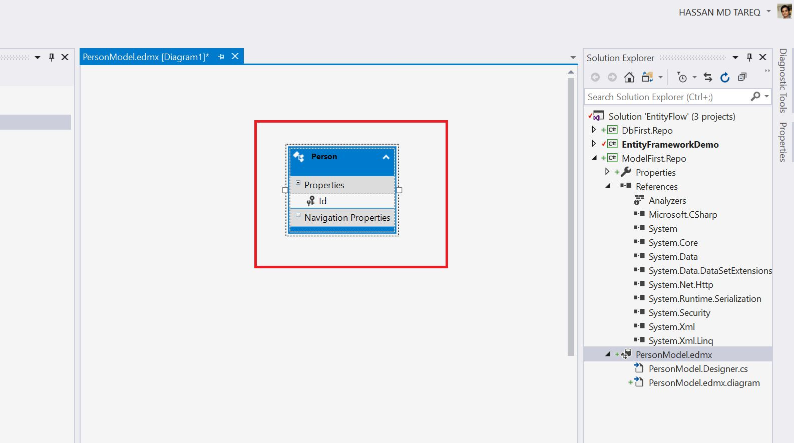 Entity Framework Model Fisrt Approach - Creating edmx Step 9